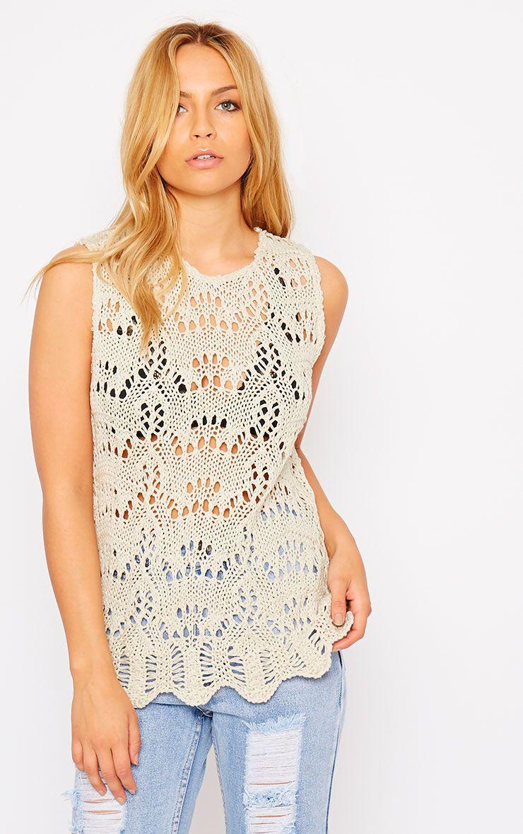 Loz Beige Crochet Vest 1