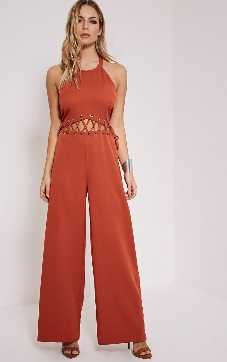 Hailie Burnt Orange Lace Front Jumpsuit 1