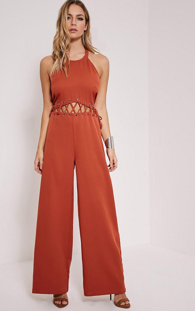 Hailie Burnt Orange Lace Front Jumpsuit
