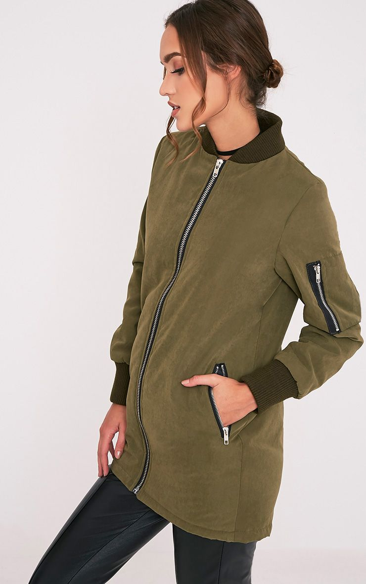 Bailey Khaki Longline Padded Coat 1