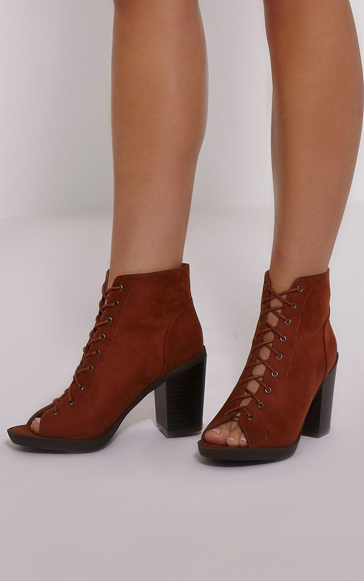 Valento Tan Faux Suede Lace Up Peep Toe Ankle Boots 1
