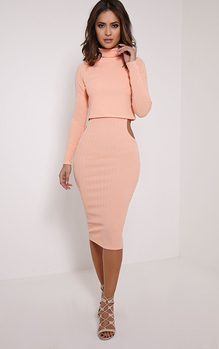 Alma Peach Ribbed Cut Out Long Sleeve Midi Dress 1