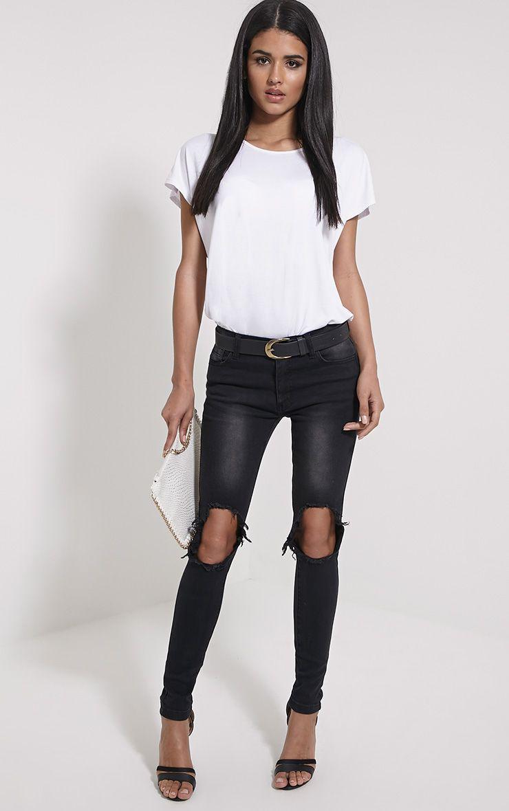 Avril Black Ripped Skinny Jean 1