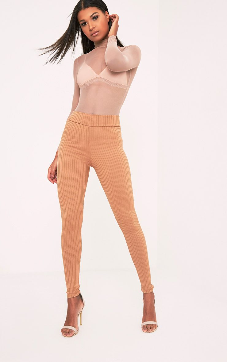 Harlie Camel Ribbed High Waisted Leggings