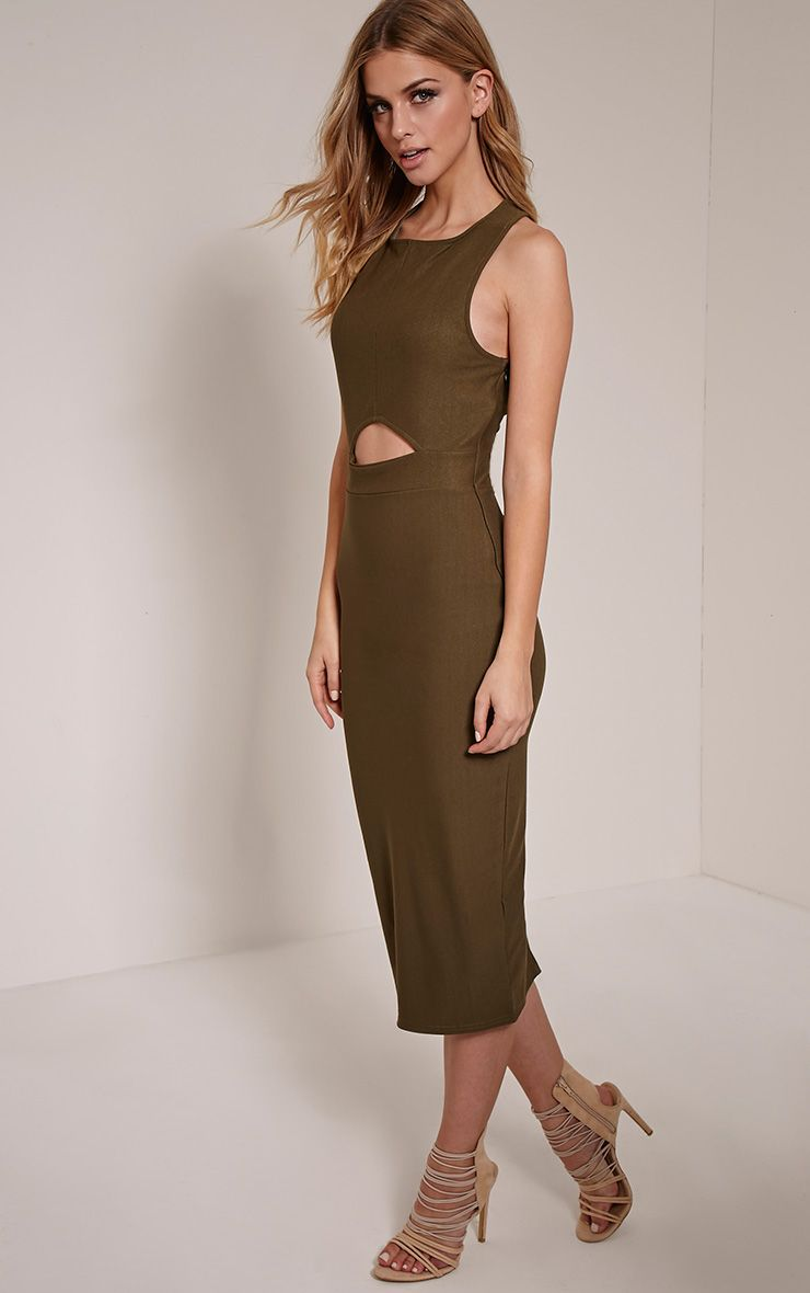Keera Khaki Triangle Ring Detail Midi Dress 1