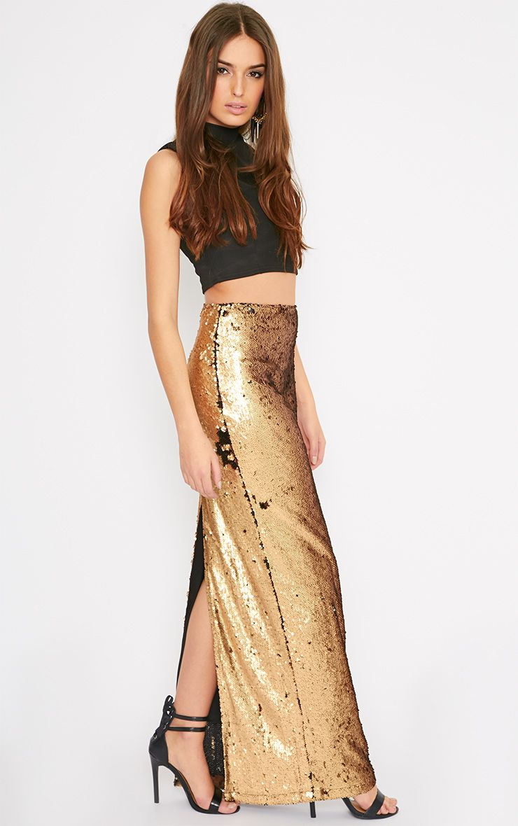 Aurora Gold Double Sided Sequin Maxi Skirt  1