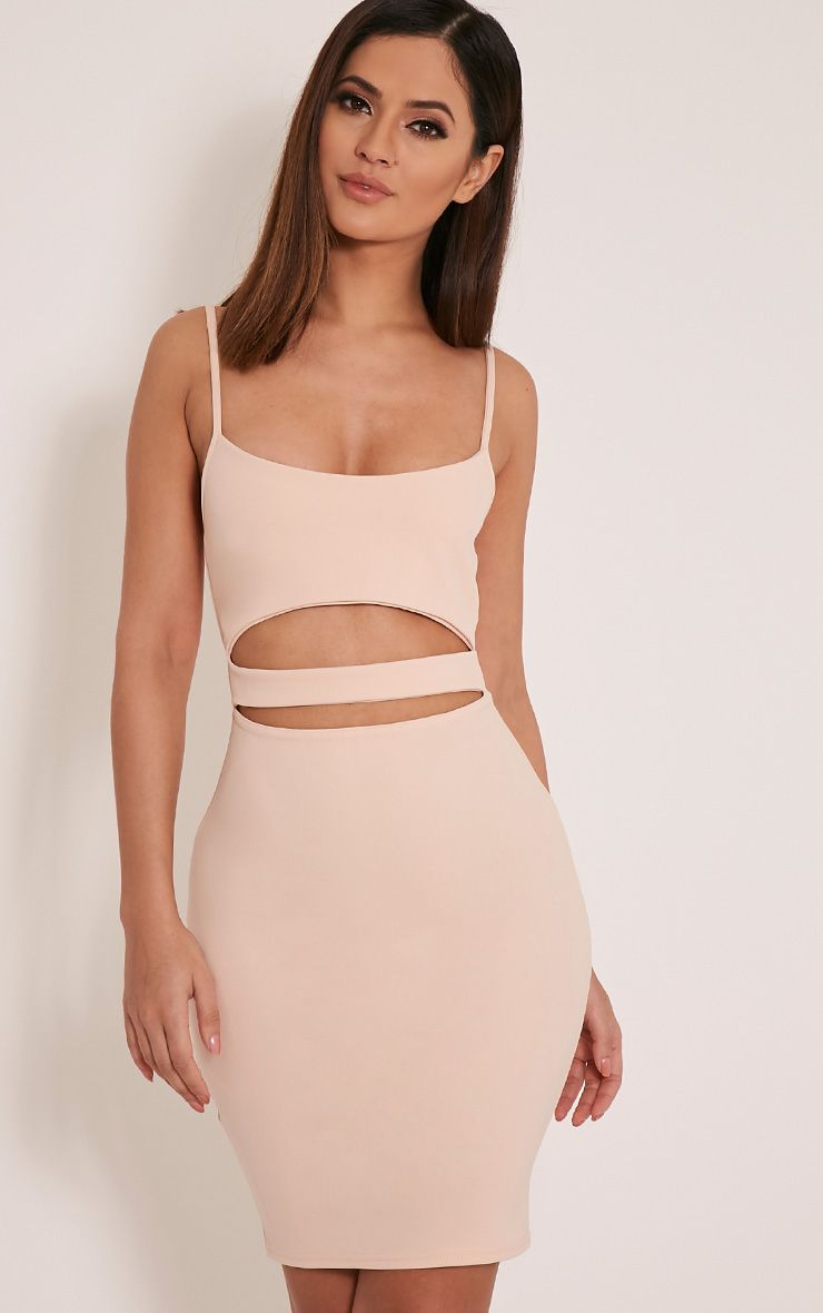 Petite Roxanne Nude Cut Out Mini Dress