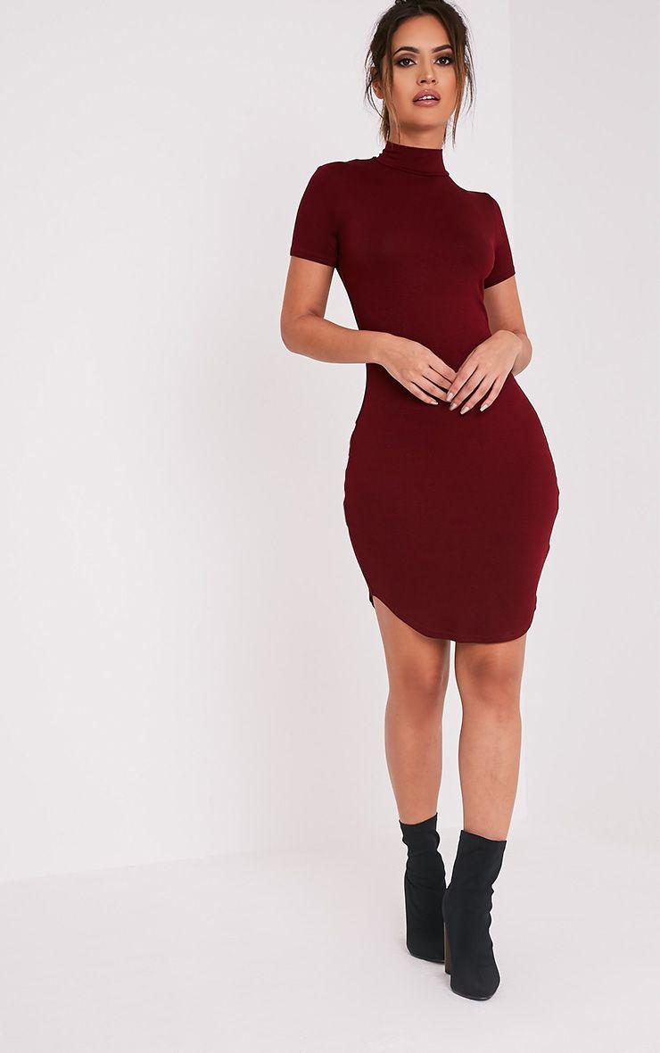 Alby Burgundy Cap Sleeve Curve Hem High Neck Dress 5