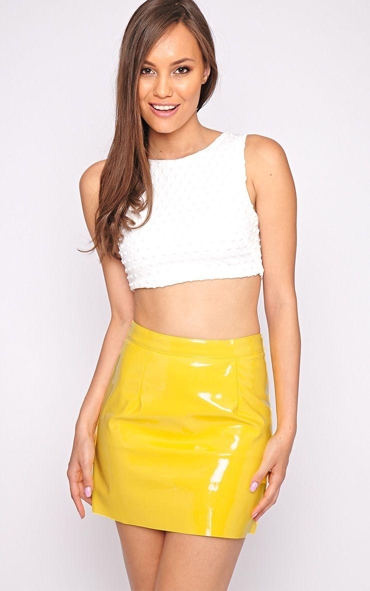 Daphne Yellow PVC Mini Skirt 1