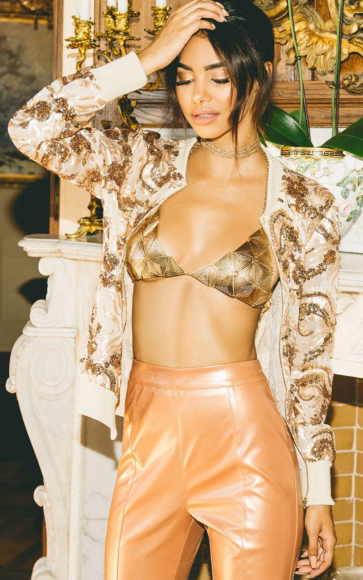 Ayma Nude Mesh Sequin Embellished Bomber Jacket
