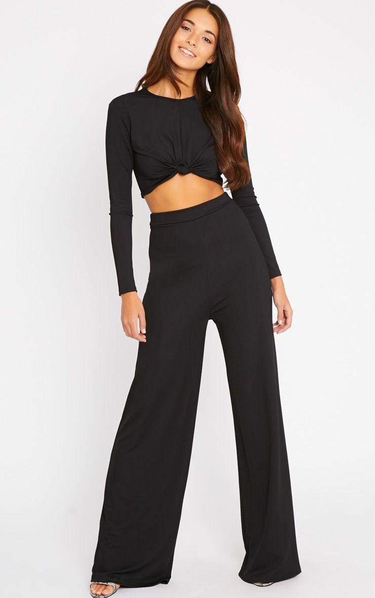 Zafia Black Crepe Palazzo Trousers 1