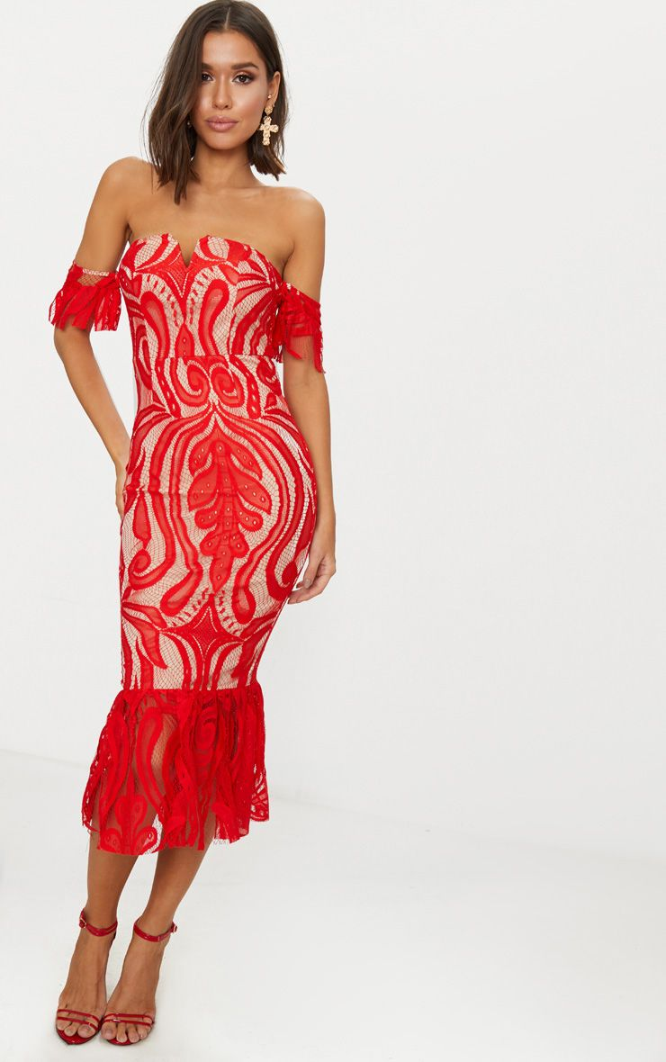 Red Bardot Lace Frill Hem Midi Dress