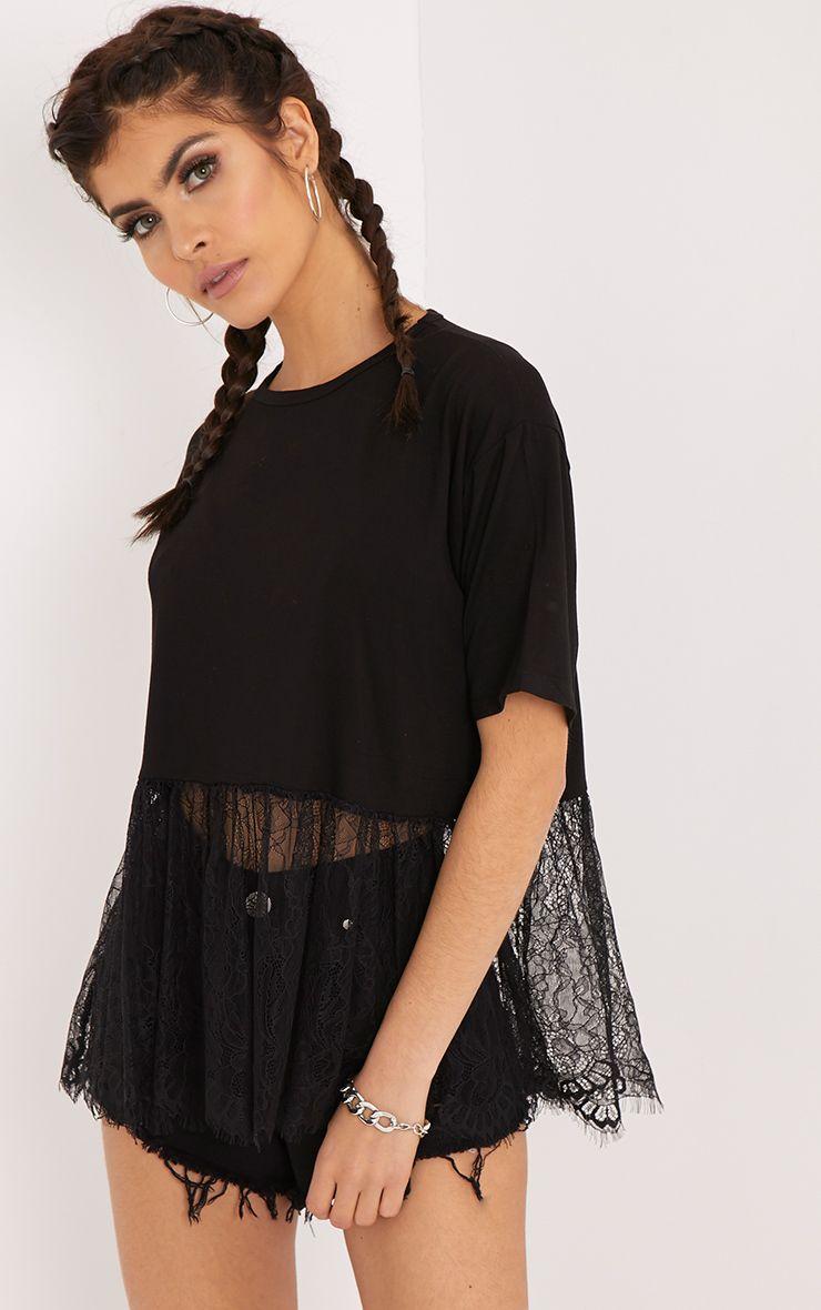 Bettina Black Lace Hem Oversized T Shirt