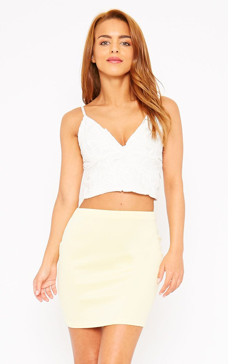 Basic Lemon Scuba Mini Skirt 1