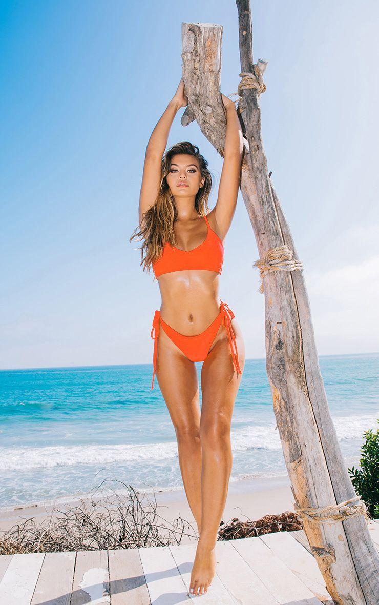 orange skinny strap bikini top