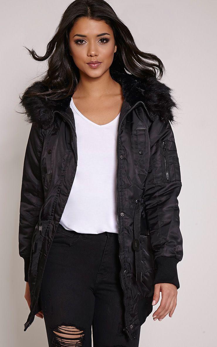 Malika Black Faux Fur Hooded Parka Jacket 1