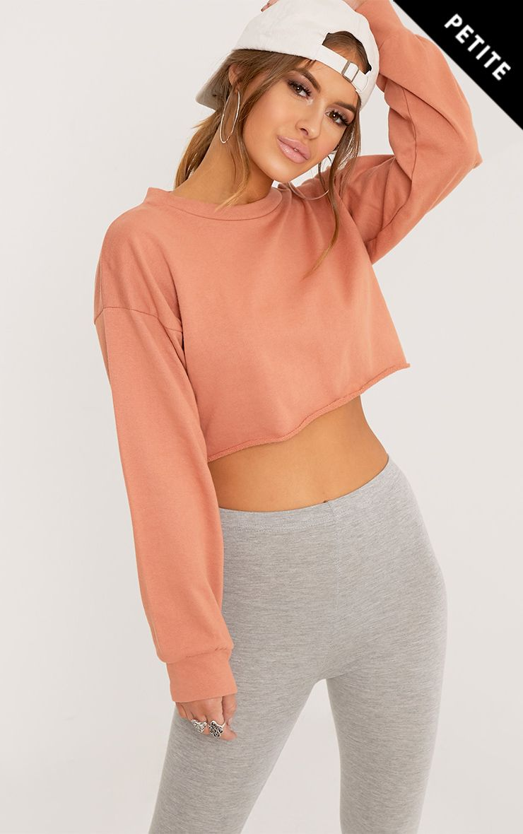 Petite Beau Deep Peach Cropped Sweater