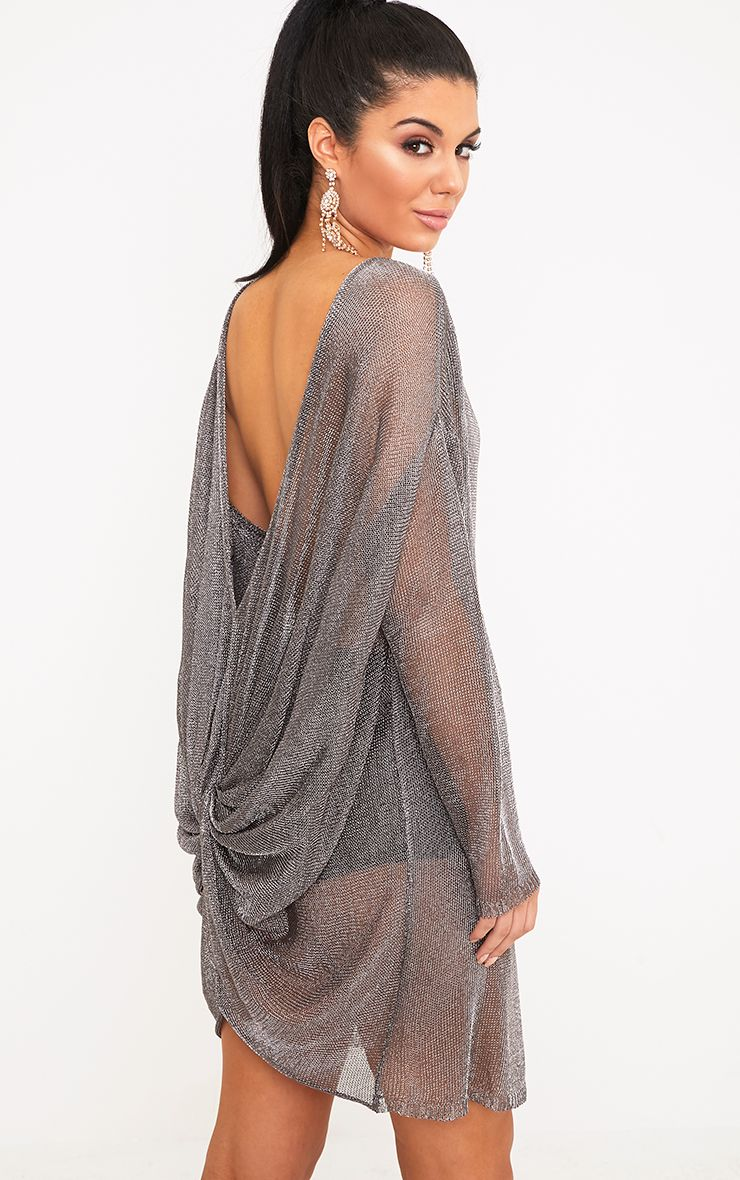 Judanna Pewter Scoop Back Sheer Knitted Mini Dress