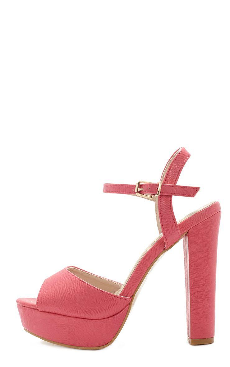 Flori Pink Leather Block Heeled Sandal  1