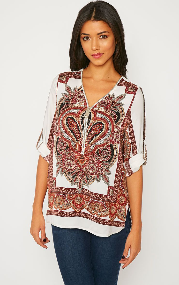 Mallory Cream Paisley Print Zip Front Top 1
