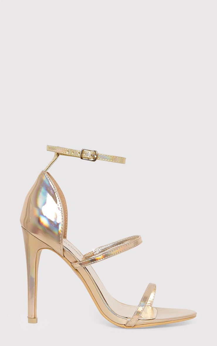 Amelia Gold Holographic Strappy Heeled Sandals