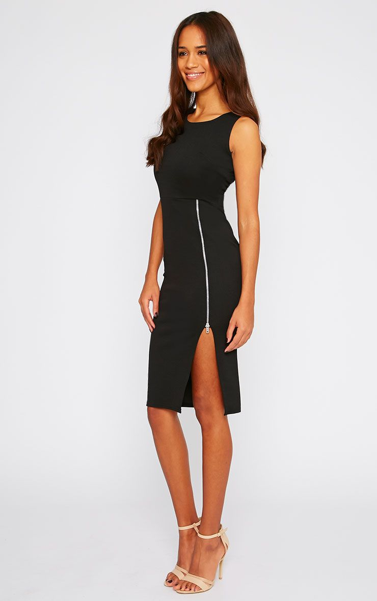Lara Black Zip Detail Midi Dress 1