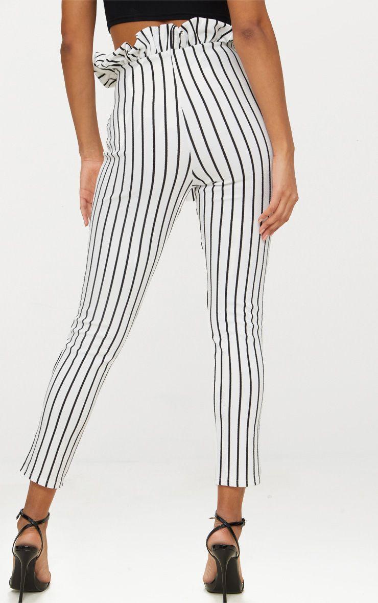 pantalon taille haute froiss e blanc rayures pantalons. Black Bedroom Furniture Sets. Home Design Ideas
