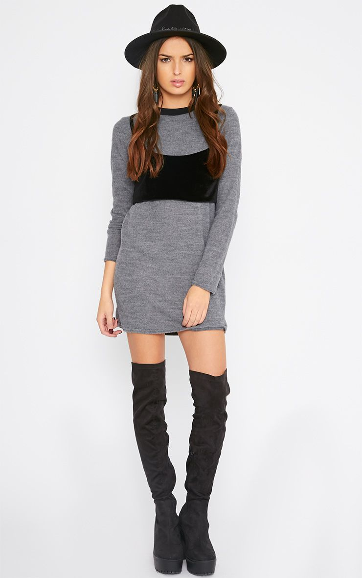 Adrianne Grey Crop Top Jumper Dress 1