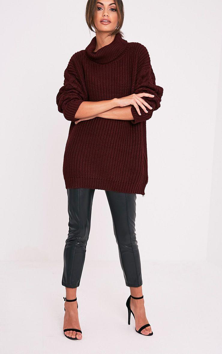 Finolla pull à manches en tricot torsadé surdimensionné bordeaux 5
