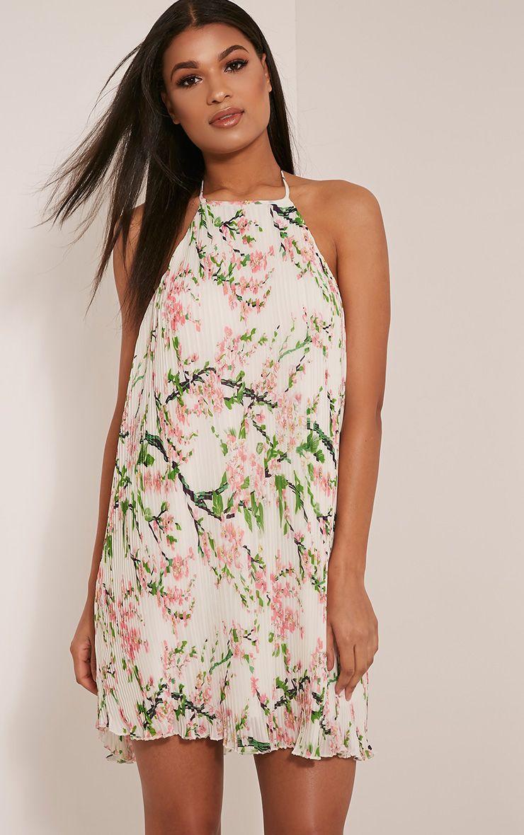 Melissa White Oriental Pleated Swing Dress