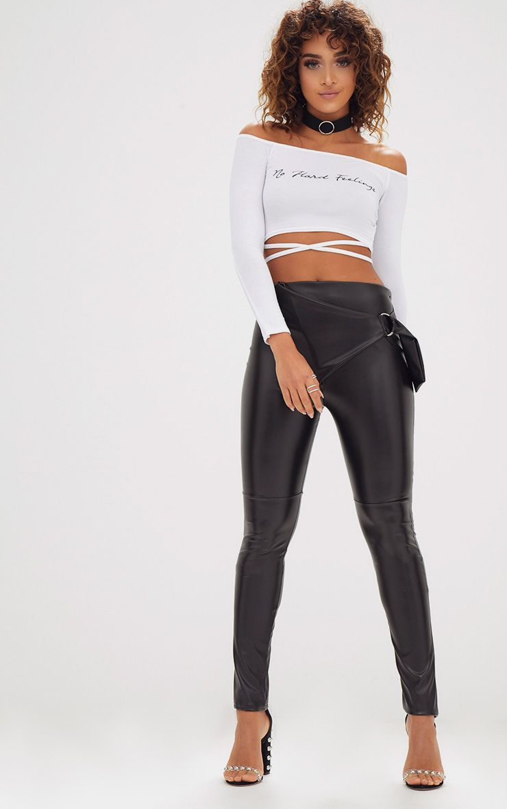 Black Faux Leather D Ring Wrap Trousers