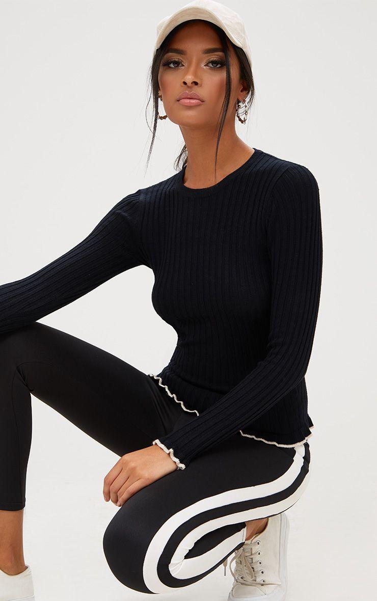 Black Frill Tip Fine Knit Jumper