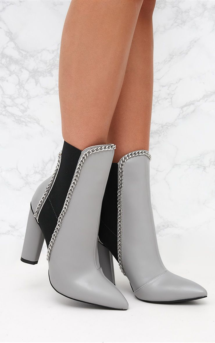 Grey Chain Trim Heeled Ankle Boots