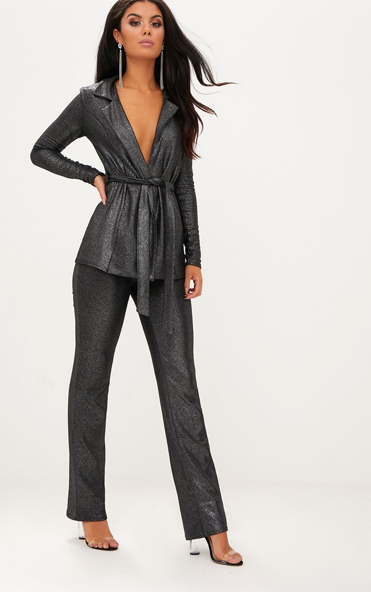 Metalic Silver Straight Leg Suit Trousers