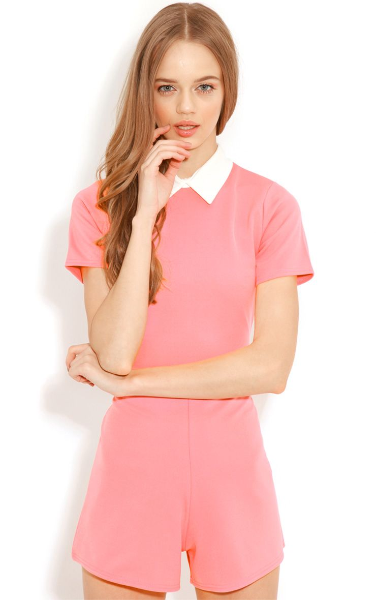 Dylon Coral Playsuit With White Collar 1