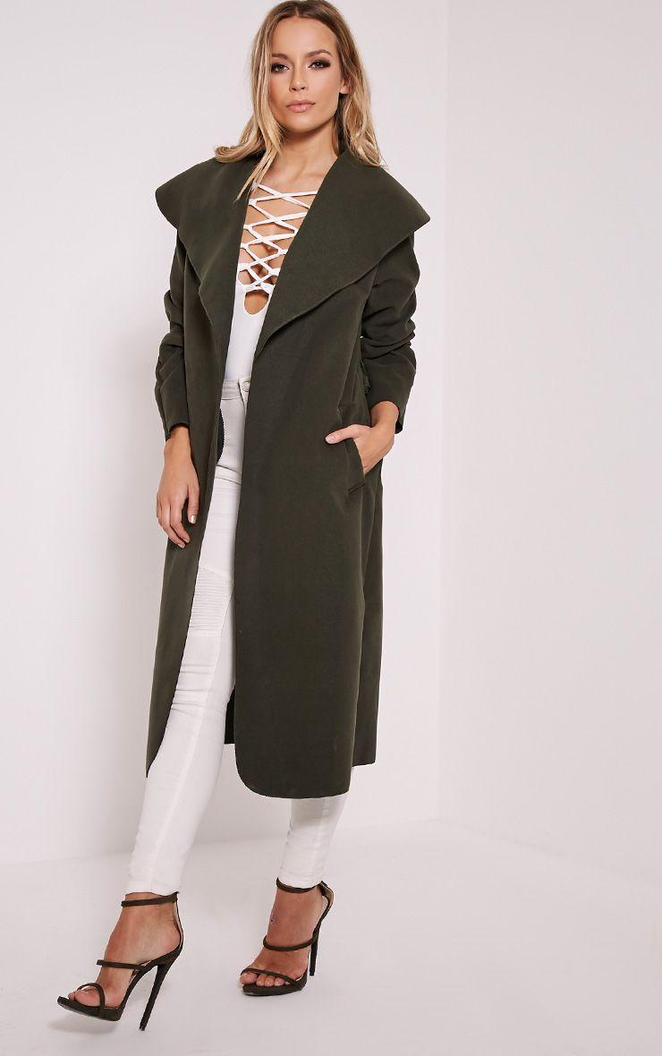 Veronica Khaki Oversized Waterfall Belt Coat