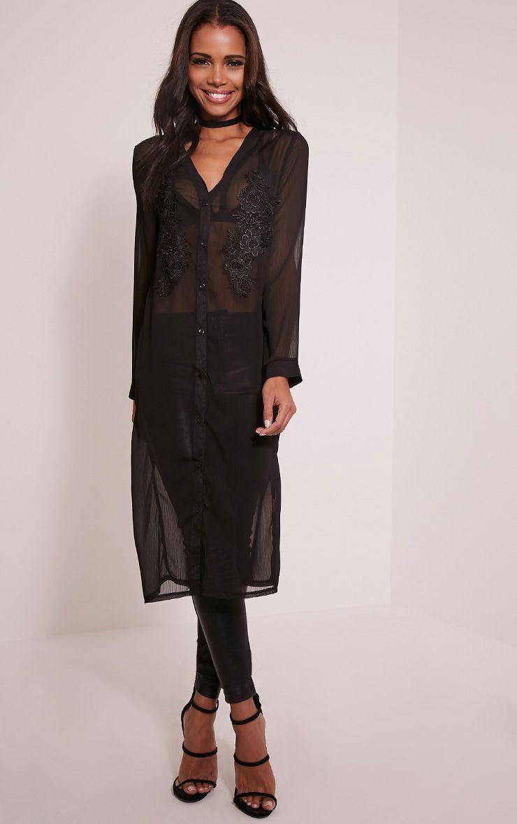 Louisa Black Applique Longline Shirt 1