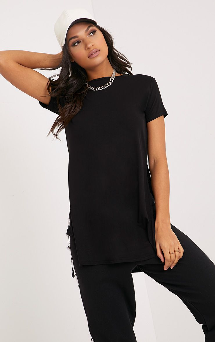 Black Side Split T-Shirt