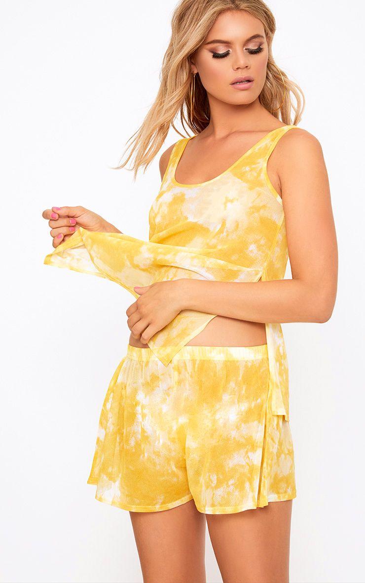 Lemon Tie Dye Mesh Shorts