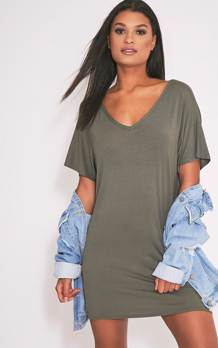 Basic Khaki V Neck T Shirt Dress