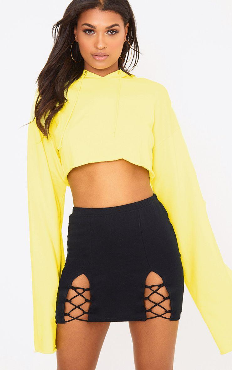 Black Split Lace Up Sweat Mini Skirt