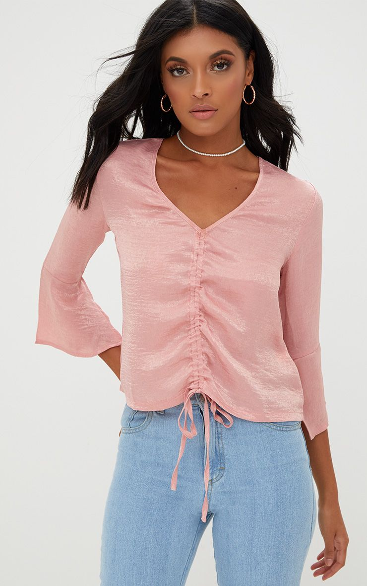 Pink Ruched Front Frill Sleeve Silk Top