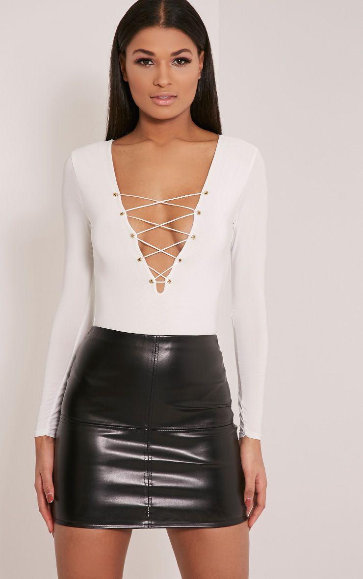 Kitanna White Lace Up Bodysuit 1