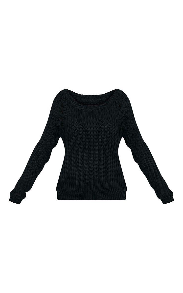 Iolanne pull tricoté épais à lacets noir 3