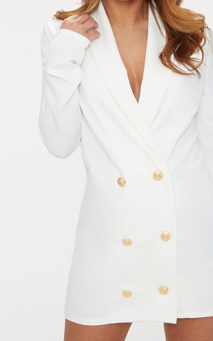 petite robe blazer blanche boutons dor s petite. Black Bedroom Furniture Sets. Home Design Ideas