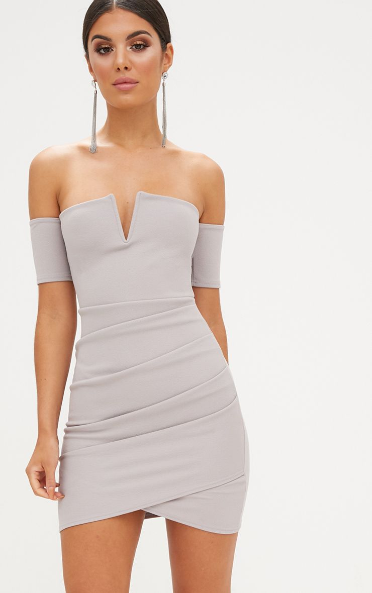Ice Grey Bardot Wrap Front Bodycon Dress