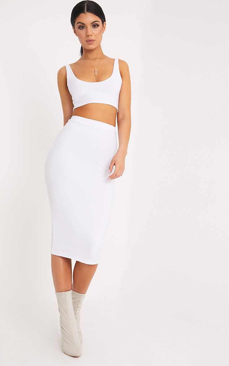 Aidy White Slinky Long Line Midi Skirt