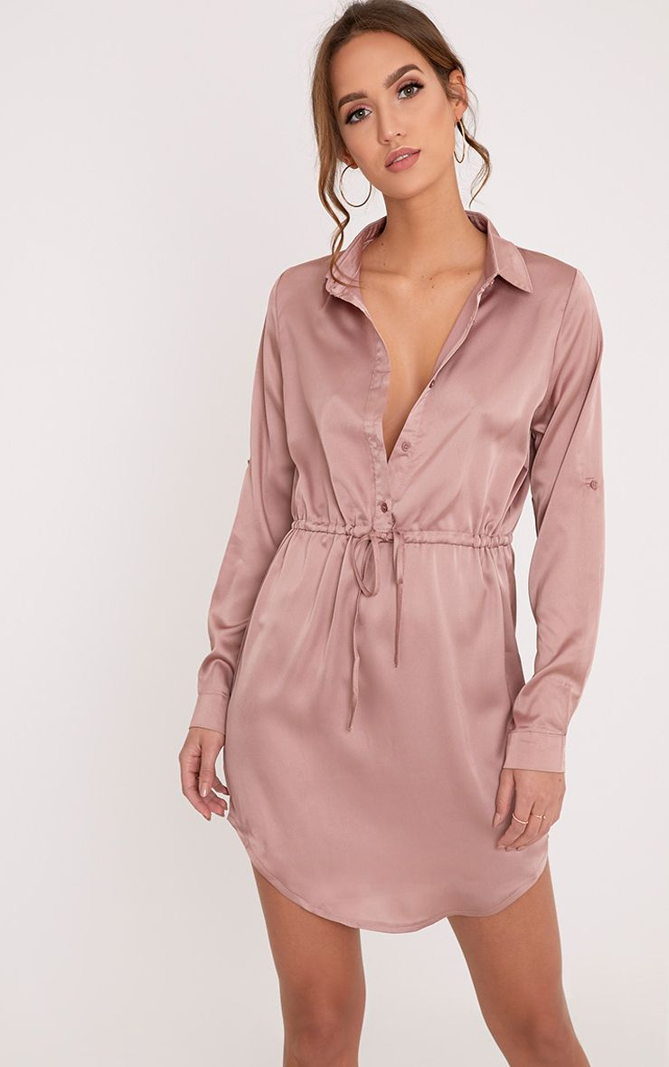 Amanda Mink Tie Waist Satin Shirt Dress