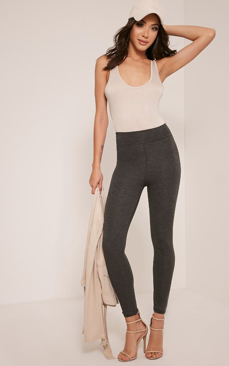 Basic Charcoal High Waisted Jersey Leggings