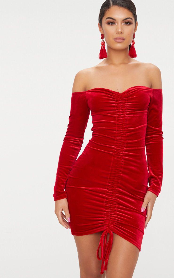 Red Velvet Bardot Long Sleeve Ruched Bodycon Dress